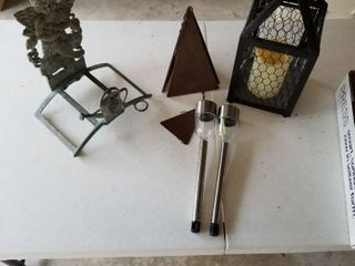 Wind chime  metal hose rack and candle holder