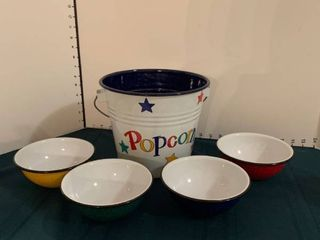 popcorn bowl with four additional bowls