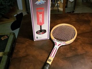 Wilson tennis racket and air pump