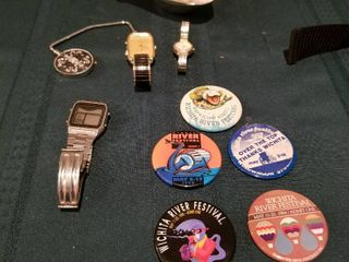 Mens and ladies watches  Riverfest buttons and bag holder