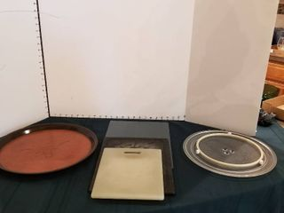 Assorted cutting boards  microwave turn table and serving tray