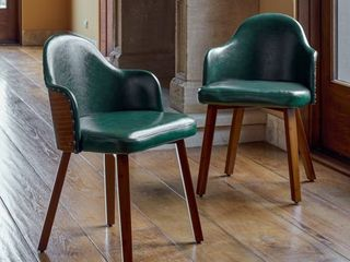 Corvus Metz Mid Century Bonded leather Bamboo Accent Chairs  Set of 2  Retail 221 99