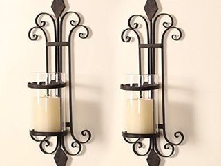 Adeco Trading Iron Wall Sconce Candle Holder  Set of 2