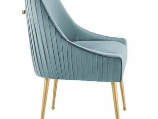 Pleated Back Upholstered Performance Velvet Chair