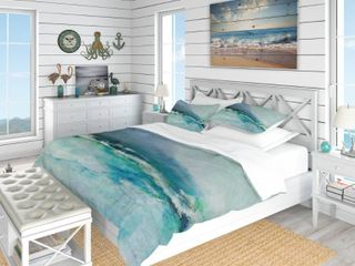 Designart  Indigo Abstract Watercolor Blue  Coastal Bedding Set   King Duvet Cover  amp  Shams