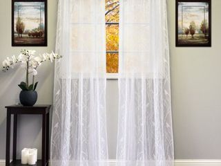 White/Ivory 56-inch x 84-inch Knit Lace Bird Motif Window Curtain Panel