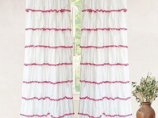 DriftAway Pom Pom Ruffle Window Single Curtain Panel
