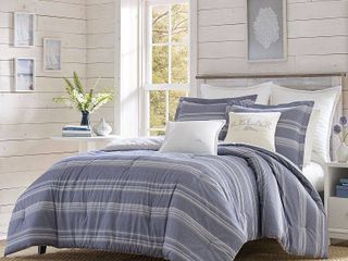 Relax by Tommy Bahama Chambray Stripe Navy Duvet Cover Set   King Retail 80 73