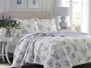 laura Ashley Keighley lilac Cotton 3 piece Quilt Set   Full Queen Retail 89 92
