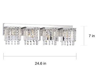 Evelyn 4 light Chrome Finish Crystal Strand Wall Sconce Retail 112 14