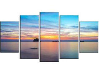 Designart  Bluish Calm Sunset and Seashore  Canvas Wall Art
