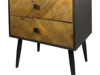 Carson Carrington Vindfalle Rustic Wood Two tone 2 Drawer Nightstand