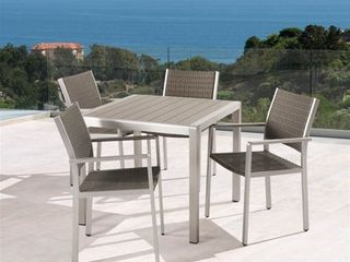 Cape Coral Outdoor 2 Seater Aluminum and Faux Wood Dining Chairs by Christopher Knight Home Retail 639 99