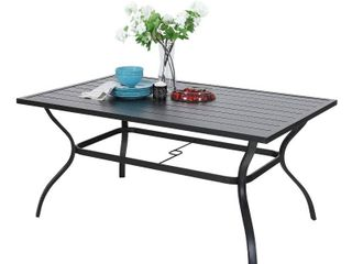 Outdoor Metal Dining Table Garden 6 Person Umbrella Table for lawn Patio Pool Sturdy Steel   1 Table Retail 265 49
