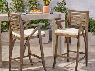 Hermosa Outdoor Acacia Wood Barstool with Cushion  Set of 2  by Christopher Knight Home Retail 274 99