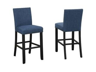 Indira 24  Counter Stool with Nail Head Trim  Set of 2  Blue  Retail 272 99