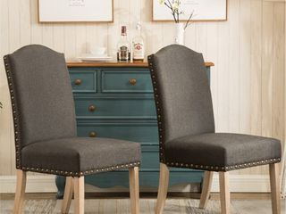 Mod Urban Solid Wood Upholstered Parson Chairs   Set of 2