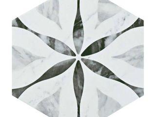 SomerTile Carra Bardiglio Floral 7  x 8  Porcelain Hexagon Floor and Wall Tile