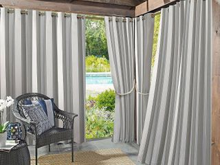 Sun Zero Valencia Cabana Stripe Indoor Outdoor Curtain Panels   2 Panel Set