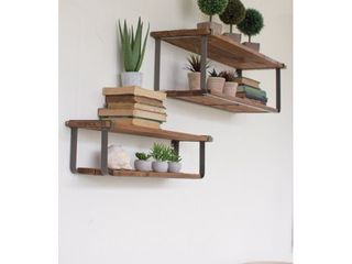 Set of 2 Recycled Wood and Metal Shelves Retail 109 95