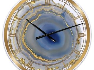 Silver Orchid Arbuckle  Golden Water Agate  Oversized Fashion Wall Clock Retail 126 99