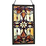River of Goods 13270 Tiffany Style Stained Glass 26-Inch High Amber Medallion Window Panel