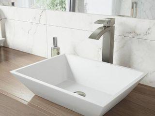 VIGO Vinca White Matte Stone Vessel Bathroom Sink