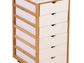Solid Bamboo Frame 6 Drawer Rolling Cart Retail 89 99