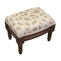 Taupe Cheetah Print French Footstool