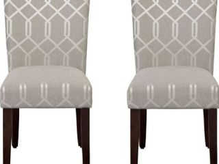 HomePop Parsons Classic Upholstered Accent Dining Chair  Set of 2  Pewter Grey and lattice Cream