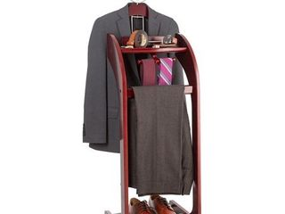 StorageMaid Clothes Valet with Mirror a Beautiful Solid Mahogany Hardwood Wardrobe Stand for Clothes with Trouser Bar  Jacket Hanger  Tray Organizer  Tie   Belt Hook and Shoe Rack