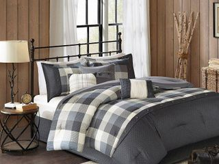 Gray 7pc Herringbone Comforter Bedding Set with Bedskirt and Decorative Pillows   Warren Cal King