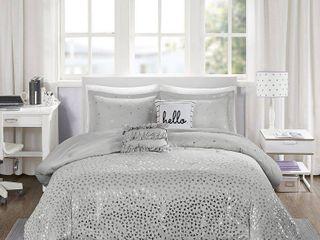 Intelligent Design Zoey King California King 5 Pc  Metallic Triangle Print Comforter Set Bedding