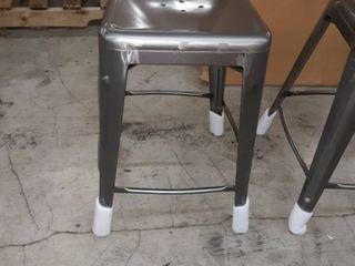 Set of 2 Gray Farm Chairs  missing backs