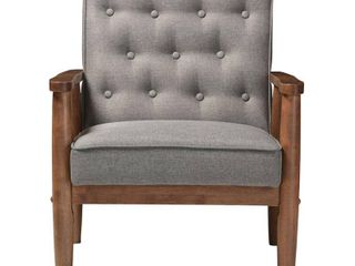Baxton Studio Sorrento Mid Century Retro Modern Grey Fabric Upholstered Wooden lounge Chair