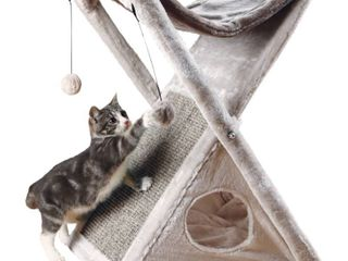 Tixie Pet Miguel Fold And Store Cat Tower   light Gray