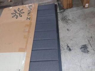 Zinus Anuar Banded Grey Upholstered Metal Headboard  Queen