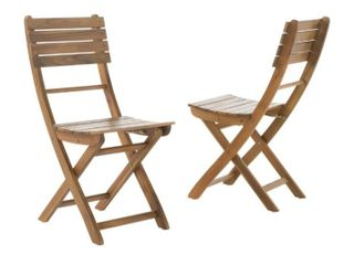 Set of 2 Natural Wood Finish Outdoor Chairs