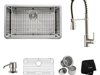 KRAUS 30 Inch Undermount Single Bowl 16 Gauge Stainless Steel Kitchen Sink with Commercial Style Kitchen Faucet   Soap Dispenser in Stainless Steel