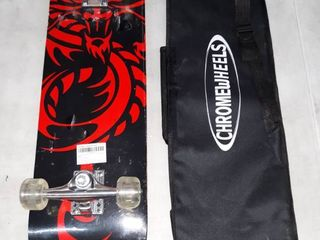 Chrome Wheels 31inch Skateboard with soft case and carrying handle
