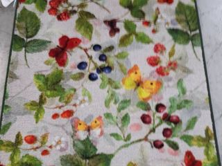 Brumlow Mills Butterflies   Berries Green Kitchen Rug  2 6  X 3 10