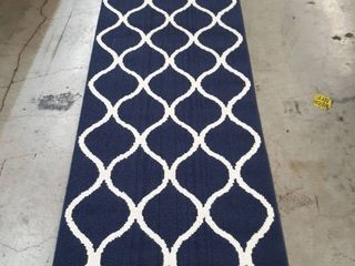 Modern Navy Blue and White Rug 3x10