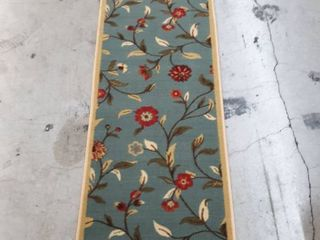 Green and Tan Accent Red Flowers Rug 2x7