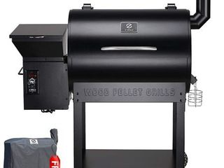 Z Grills ZPG 7002 Wood Pellet Grill   Smoker  8 in 1 BBQ Grill Auto Temperature Control  700 sq inch Cooking Area  Black
