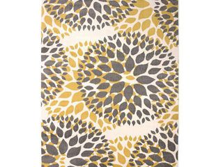 Modern Floral Design Yellow 3 1  x 5  Indoor Area Rug