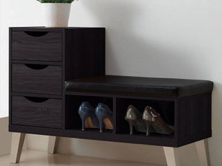 Arielle Modern and Contemporary Wood 3   Drawer Shoe entryway benches with Two Open Shelves   Dark Brown   Baxton Studio