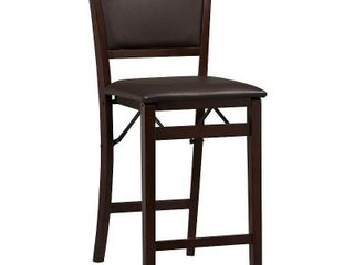 linon Keira Folding Counter Stool  Espresso  24  Seat Height  Assembled
