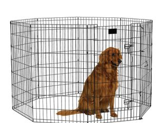 MidWest Exercise Pen with Door  42 Inch  Black