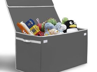 G U S  Kids Collapsible Toy Chest with Flip Top lid  large   Gray with White Trim