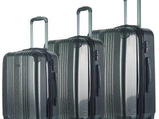 Pink  Olivia Miller Cadiz 3 pc  Hardside lightweight luggage Set  Hot Pink